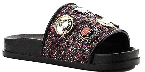 - Cape Robbin Moira-25 Women Slides Flip Flop Glitter Metal Pendant Ornament Sandal Black (6)