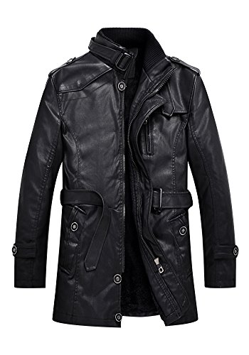 DOOXIUNDI Men's Sherpa Lined Pu Leather Washed Mid-length Trench Coat (XL, black)