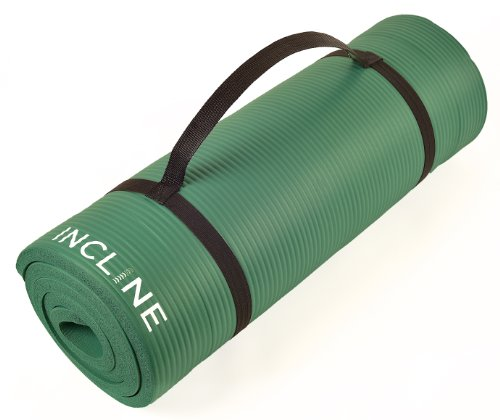 Incline Fit Extra Thick and Long Comfort Foam Yoga/Exercise Mat with Carrying Strap, Forest