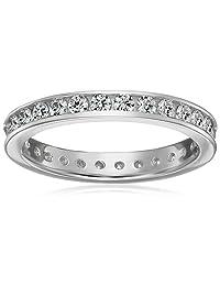 Platinum-Plated Sterling Silver Swarovski Zirconia 1 cttw Channel Set All-Around Ring
