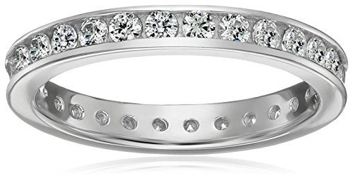 - Platinum-Plated Sterling Silver Swarovski Zirconia Channel Set All-Around Band Ring (1 cttw), Size 9