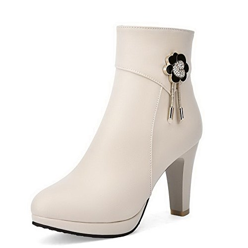 Round Beige Closed Boots Solid Womens Top Heels Toe AmoonyFashion High Low vz5pp