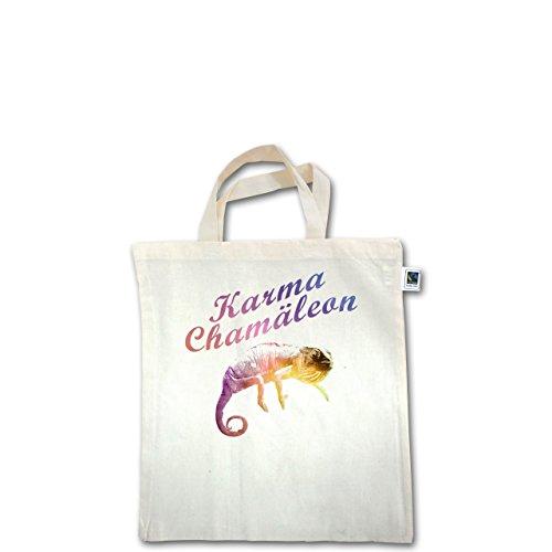 Statement Shirts - Karma Chamäleon - Unisize - Natural - XT500 - Fairtrade Henkeltasche / Jutebeutel mit kurzen Henkeln aus Bio-Baumwolle