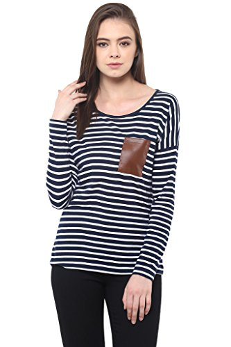 Miss Chase Women's Navy   White Fullsleeve Round Neck Striped Top