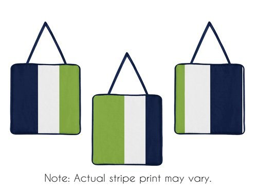 Sweet Jojo Designs Navy Blue and Lime Green Stripe Collection Wall Hanging Accessories