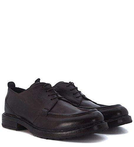 Zapato de cordones Moma en piel vaqueta marrón oscuro Marrón