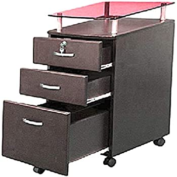 Amazon Com Rolling File Cabinet With Glass Cover Xl Cart