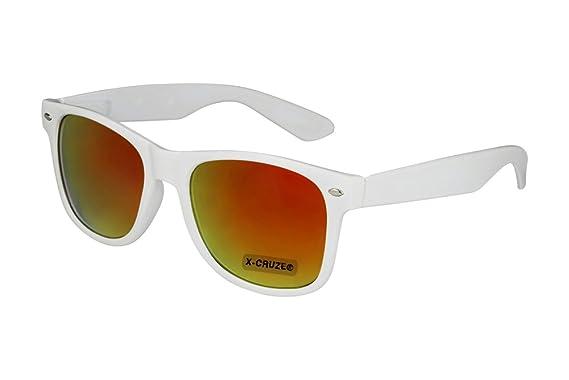 X-CRUZE® 8-053 - Lunettes de soleil unisexe, femmes, hommes - Style Nerd, Rétro, Vintage - Blanc et effet miroir Rouge-orange
