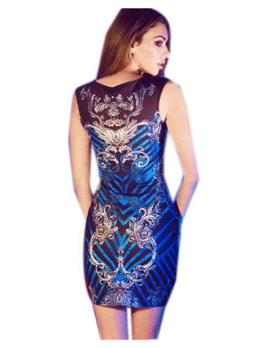 Hip Floral Embellished Print Womens Sleeveless wrapped Dress Mini Fashion Blue CA R1AwxYHw