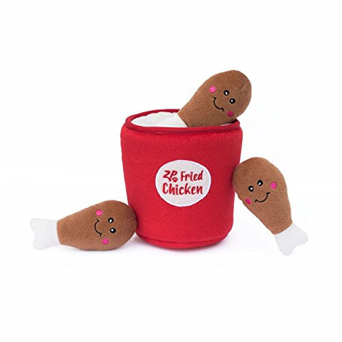 ZippyPaws - Food Buddies Burrow, Interactive Squeaky Hide and Seek Plush Dog Toy - Bucket of Chicken
