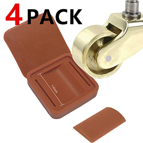 2 in 1 Furniture Wheel Caster Cups and Furniture pad,Yupeak Silicone Non-Slip Bed Stopper for Furniture Wheels of Within Diameter 2''/ Width 1.5'' and Furniture Leg of Within 1.75X1.75 (4Pack(Brown) (In 1 Design Furniture 2)