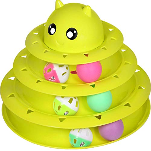 UPSKY Cat Toy Roller Cat Toy Ball Tower Cat Fun 3-Level Tower Ball & Track Indoor Cats Pet Roller Ball Cat Play Super Roller Super Fun PP Material More Durable Stronger