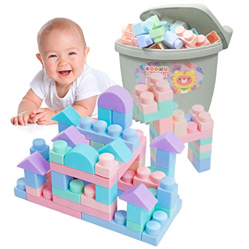 MOOMU Soft Building Blocks Set for Toddlers, Baby Ages 6 Month Old and up, Safe Chewing, Learning Stacking Block Toys…