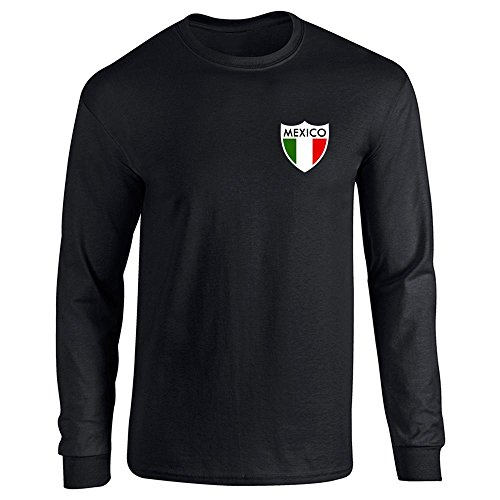 Pop Threads Mexico Futbol Soccer Retro National Team Black 3XL Long Sleeve T-Shirt - Shop Mexico Online