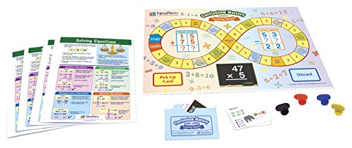 NewPath Learning 23-6967 Solving Equations Learning Center Game (Grades 6-9) - Game Board, 30 Illustrated Game Cards and Four 4-Panel, Laminated