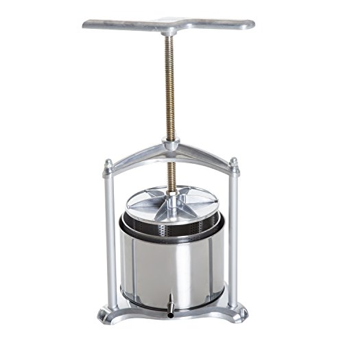 HomCom 1.4 Gallon Stainless Steel Manual Fruit Juice and Wine Press - Silver