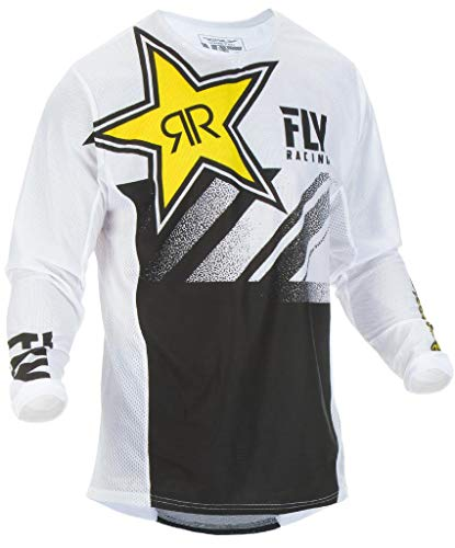 - Fly Racing Men's Kinetic Mesh Rock Star Jersey (White/Black, XX-Large)
