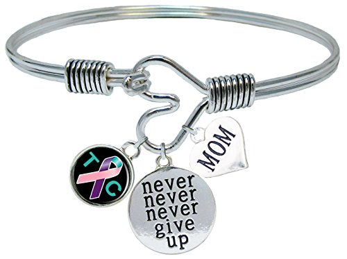Custom Thyroid Cancer Awareness Never Give Up CHOOSE MOM OR DAD CHARM ONLY Bracelet Jewelry (Cancer Awareness Bracelet Thyroid)