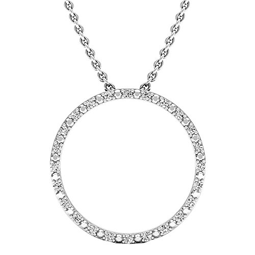 Dazzlingrock Collection 0.15 Carat (ctw) Round Cut Diamond Ladies Circle Pendant (Silver Chain Included), Sterling Silver