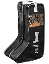 1PCS Durable Practical Large Non-woven Fabric Boots Storage/Protector/Bag with Double Compartment (Long, Black)