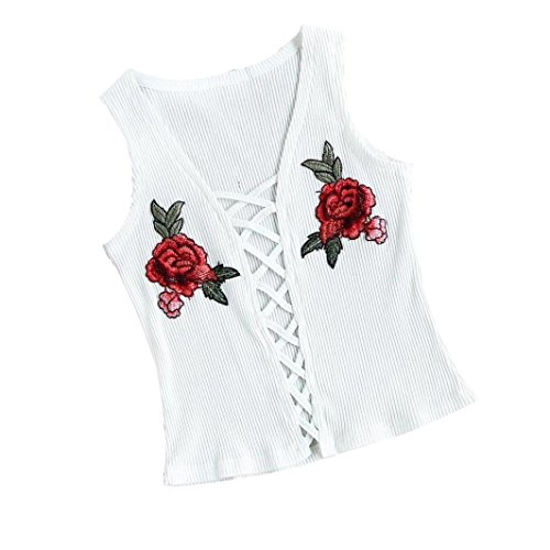 Womens Hollow Criss Cross Floral Embroidery Cami Sleeveless Plunge V Neck Tank Tops Shirts (M, (Criss Cross Embroidery)