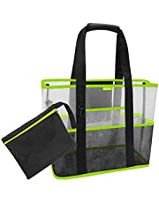Beach Storage Bag- Sports Gear Mesh Shoulder Bag Waterproof Shopping Handbag for Family Holiday Picnic Swimming Pool Kids Sand Toys Organiser Grocery Storage Bag, Black-Green (Beach Storage Bag)
