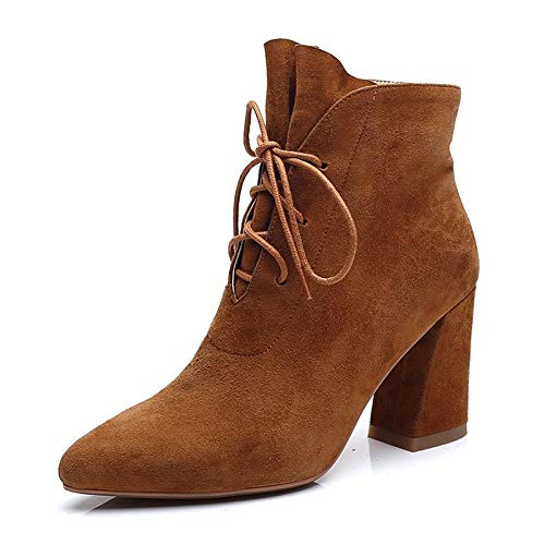 Dark Brown US6   EU36   UK4   CN36 Dark Brown US6   EU36   UK4   CN36 Women's shoes Suede Summer Combat Boots Boots Chunky Heel Pointed Toe Black Dark Brown