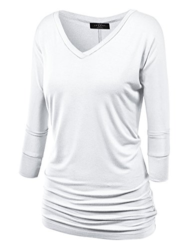 Sleeve 3/4 Shorts Short Sleeve - MBJ WT1036 Womens V Neck 3/4 Sleeve Dolman Top with Side Shirring XXXL WHITE