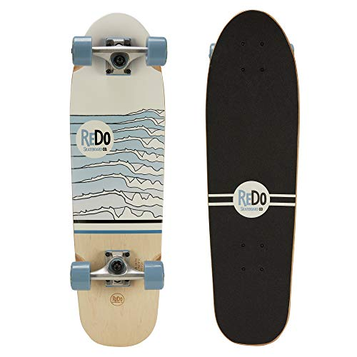 ReDo Skateboard 28.5″ x 8″ Zodiac Premium Cruiser Blue Waves Complete Skateboard for Boys Girls Kids Adults
