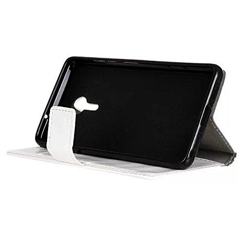 SKKMA Lenovo Z2 PRO Case, color sólido patrón de textura de caballo loco cuero cubierta protectora caso horizontal flip caja de la cartera de soporte con ranuras para tarjetas de Lenovo Z2 PRO ( Color White
