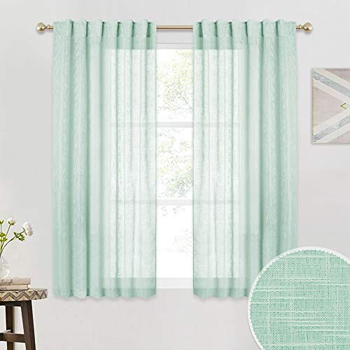 RYB HOME Linen Curtains Sheer - Back Tab & Rod Pocket 2 Hanging Methods, Breezy Window Covering Short Drapes for Bedroom Cafe Kitchen, Aqua, 52 inch Wide x 45 inch Long, 2 Panels (Best Window Coverings For Kitchen)
