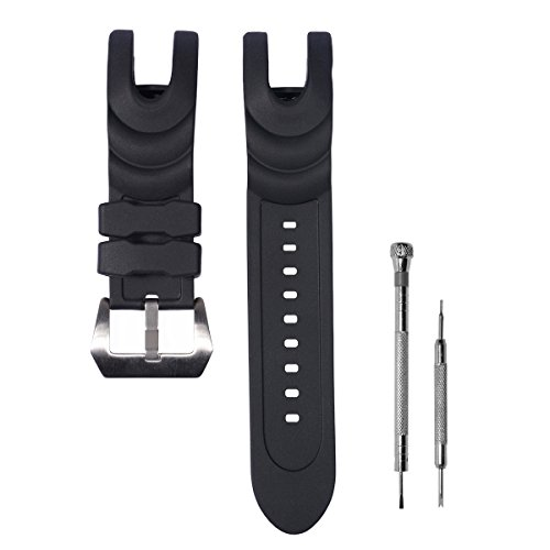 CACA for Invicta Watch Replacement Rubber Silicone Band/Strap with Stainless Steel Buckle for Invicta Reserve Collection Venom - Black Invicta Watch Strap by CACA Watchband