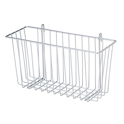 Honey-Can-Do SHF-04056 Steel Wire Accessory Basket, Chrome, 13.39L x 5W x 7.6H (Buy Wire Baskets)