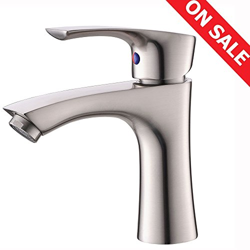 KINGO HOME Contemporary Stainless Steel Single Hole Lavatory Single Handle Brushed Nickel Bathroom Faucet, Hot and Cold Water Vanity (Brushed Nickel Handle)