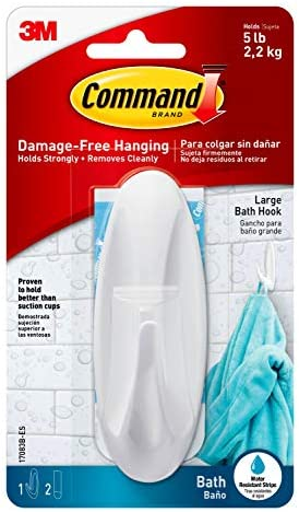 White 2-Strip Command Bathroom Hook with Water-Resistant Strips 1-Hook 17600B 2 Pack