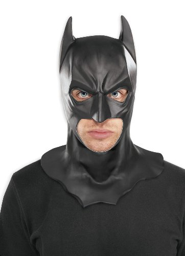 [Batman The Dark Knight Adult Batman Full Overhead Latex Mask, Black, One Size] (Dark Knight Costumes Real)