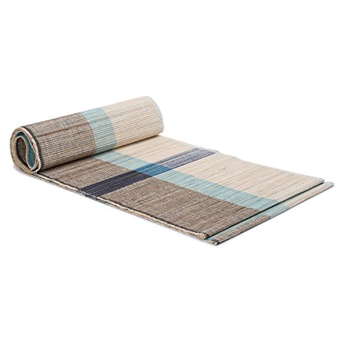 ShalinIndia Handloom Woven Eco Friendly Banana Bark and River Grass Cross Table Runner 13x72 inch-Kitchen Dining Home Décor-with A Cotton Bag