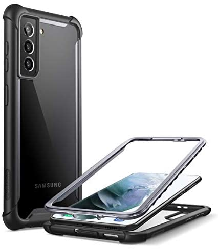 i-Blason Ares Series Case Designed for Galaxy S21 5G (2021 Release), Rugged Clear Bumper Case Without Built-in Screen Protector (Black)