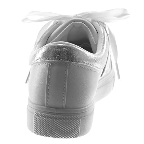 3 Tyylikäs Urheilullinen Kengät Cm Strassi Naisten Tasainen Tyhjästä Muoti Tennis Kantapään Angkorly Valkoinen Kouluttajat Satiinia qHX7pxw