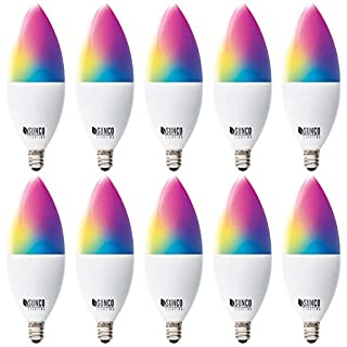 Sunco Lighting 10 Pack WiFi LED Smart Bulb, B11 Candelabra, 4.5W, E12 Base, Color Changing (RGB & CCT), Dimmable, Compatible with Amazon Alexa & Google Assistant - No Hub Required
