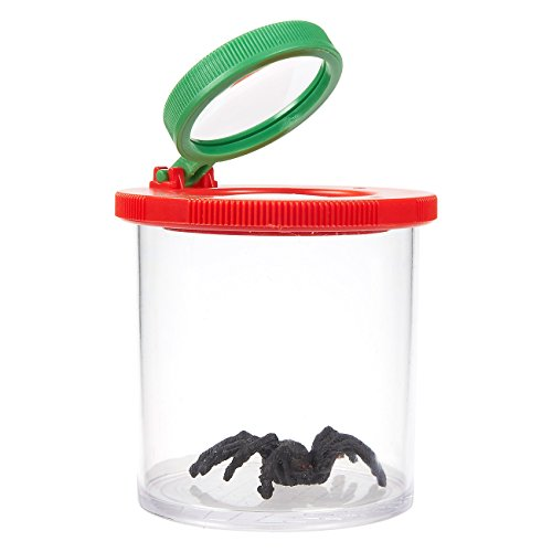 Bug Viewer Box - Bug Jar for Children - Plastic Transparent Insect Catcher Kit with 3X Magnifying Lens, 2.5 x 3.1 x 2.5 Inches, Red and Green