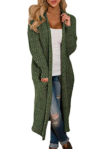 Women's Casual Knit Long Open Front Cardigan Sweaters Loose Lightweight Drape Outwear Coat with Pockets Solid Green S 4 6