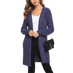 Sykooria Femmes Cardigan Pull Outwear à Manches Longues Lâche Solide Couleur Tricot Manteau avec Chapeau