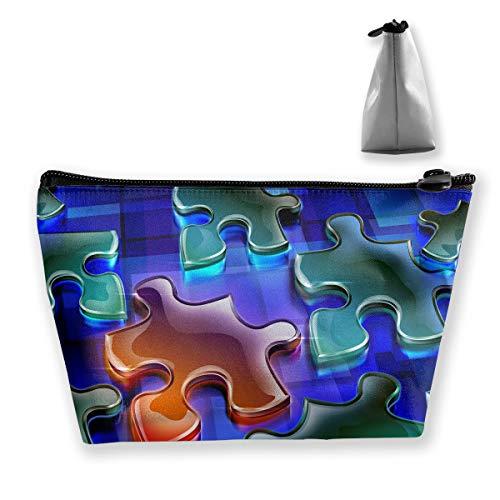 Makeup Bag Trapezoidal Storage Bag Jigsaw Puzzle Blue Portable Cosmetic Bag Ladies Mobile Travel Bag