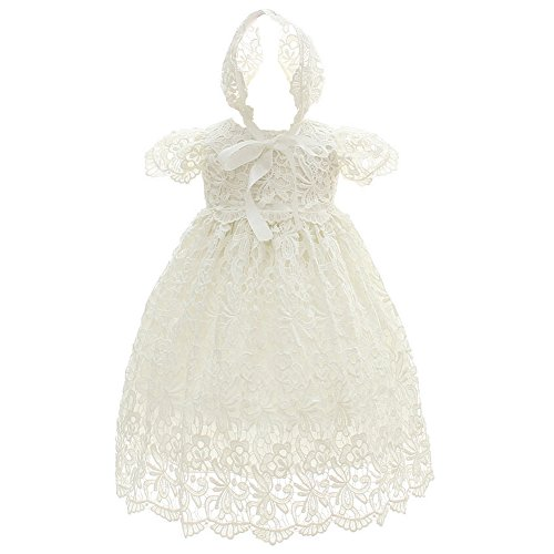 Coozy Baby Girl Special Occasion Dress 2PCS Christening Baptism Gowns Girls Hollow Long Dress (6M(6-12Months), Ivory)