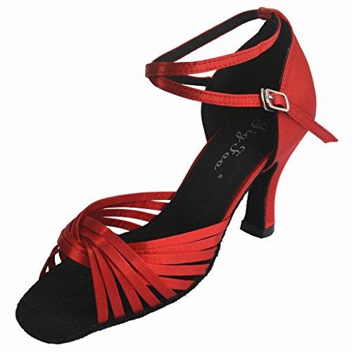 Jig a sandalias Foo Fighters Open-toe Latina Salsa Tango salón de baile zapatos de baile para las mujeres con 3talón Red