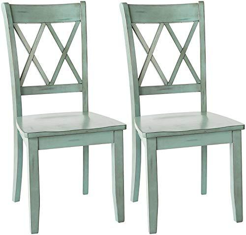 Ashley Furniture Signature Design - Mestler Dining Room Side Chair - Wood Seat - Set of 2 - Blue/Green (Renewed) (Wood Designs Furniture Sala Set)