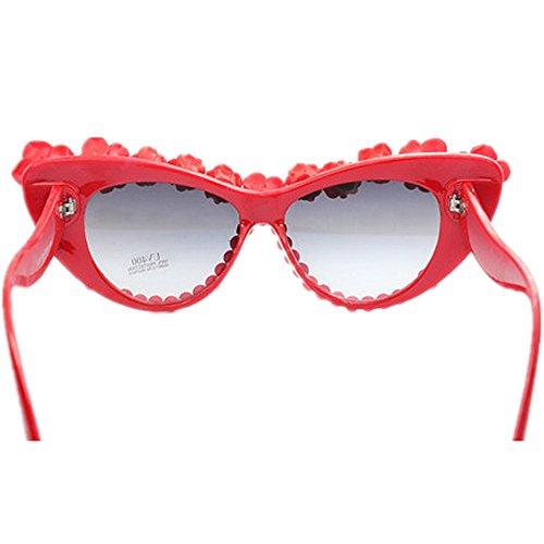 rétro des romantique UV unisexe Pearl yeux Rose à conduite pour de lunettes la d'été pêche Cat élégant Pour Lady soleil de la la Style main soleil vacances Lunettes de protection voyage plage Rose en dqE4dz