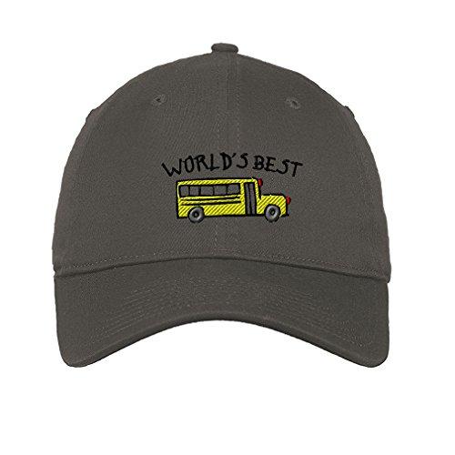 Driver Worlds Best Bus (Speedy Pros Cotton Low Profile Hat World Best School Bus Driver Embroidery Dark Grey)