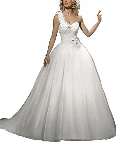 Weiß Schulter Eine Orangza GEORGE Blumen Satin Brautkleider Ballkleid Hochzeitskleider BRIDE ueber Netto axZnqP